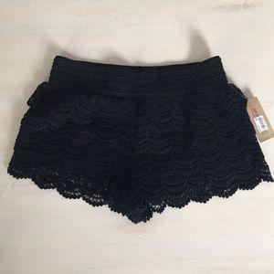 American Rag boho black lace shorts